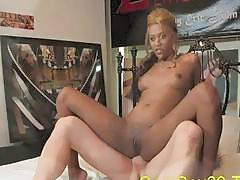 Blonde ebony Riley gets her wet cunt eaten before banging