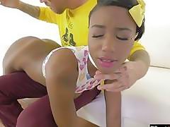 Black girl gets spanked by white daddy before getting fucked
