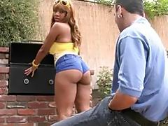 Barbecue booty redhaired ebony Cocoa get a big rod