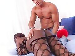 Jada Fire is juiced up by a musclebound fucker in her sexy ass fishnets