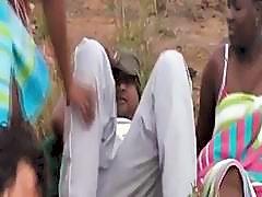 Trio of African slaves pleasing boners outdoors