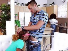 Ebony babe Kendall Woods fucks the white tutor in doggystyle