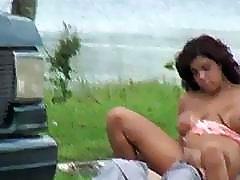 Massive tits Savan Ginger fucked outdoor